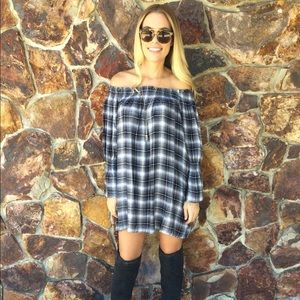 LATS Blue Plaid Tunic Dress Off the Shoulders S